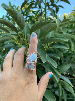 Blue Calcite Adjustable Ring