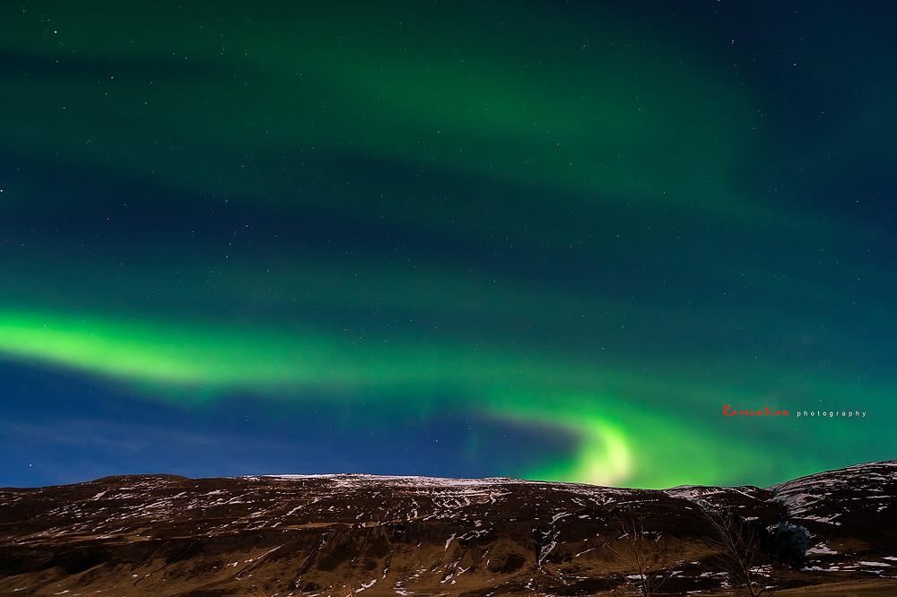 Aurora borealis pada hari ke- 4 di utara Iceland