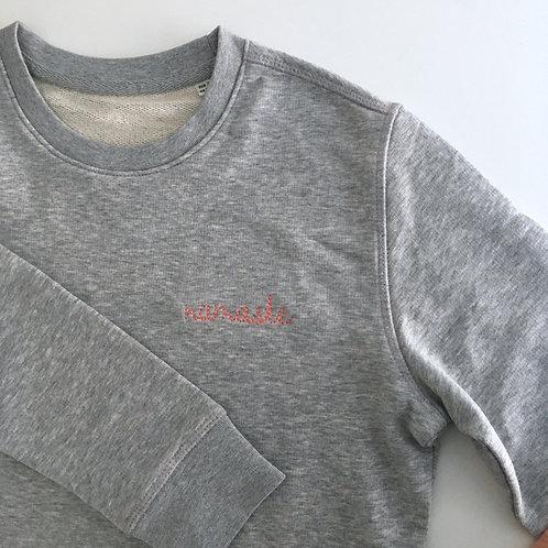 Unisex Statement Sweatshirt - grau / korall - 100% Bio-Baumwolle & Fair Wear