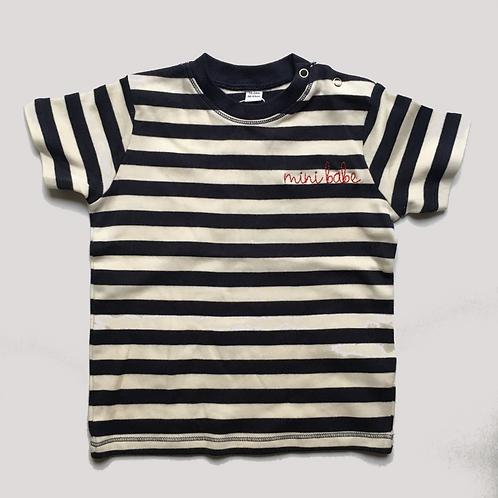 "Statement MiniShirt stripy ""mini babe"" - 100% Baumwolle"