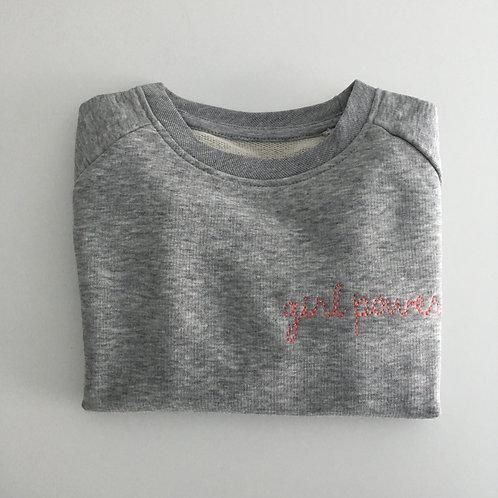 "Kinder Statement Sweatshirt ""girl power"" - grau / korall - 100% Bio & Fair"