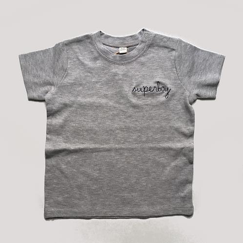 "Statement Mini Shirt grau ""superboy"" - 100% Baumwolle"