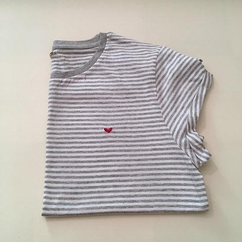 T-Shirt für Frauen (gestreift) - Herz - 100% Bio & Fair