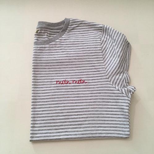 """T-Shirt für Frauen (gestreift) - """"moin moin"""" - 100% Bio & Fair"""