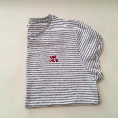 """Statement T-Shirt für Frauen (gestreift) - """"GRL PWR"""" - 100% Bio-Baumwolle/Fair"""