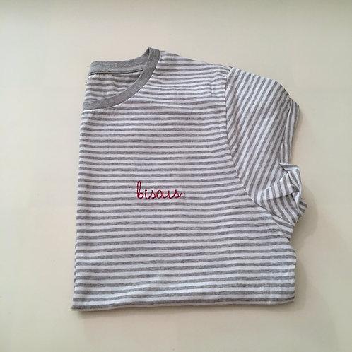 """T-Shirt für Frauen (gestreift) - """"bisous"""" - 100% Bio & Fair"""