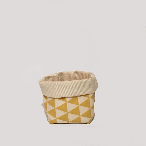 Stoffkörbchen (gelb / weiß) - S