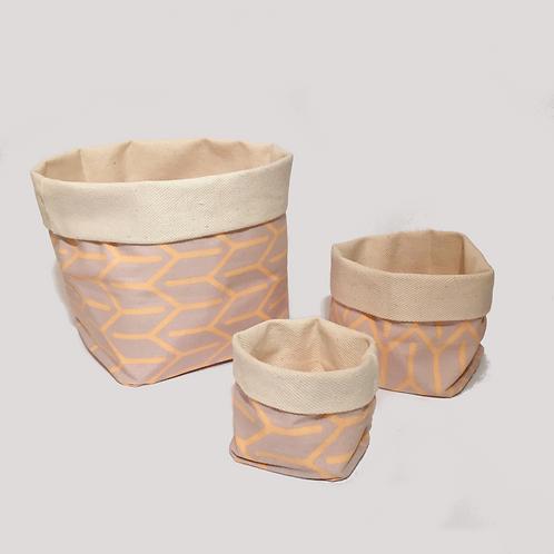 Stoffkörbchen (orange / grau) - Set