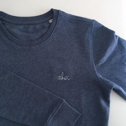 Unisex Statement Sweatshirt - blau / weiß - 100% Bio-Baumwolle & Fair Wear