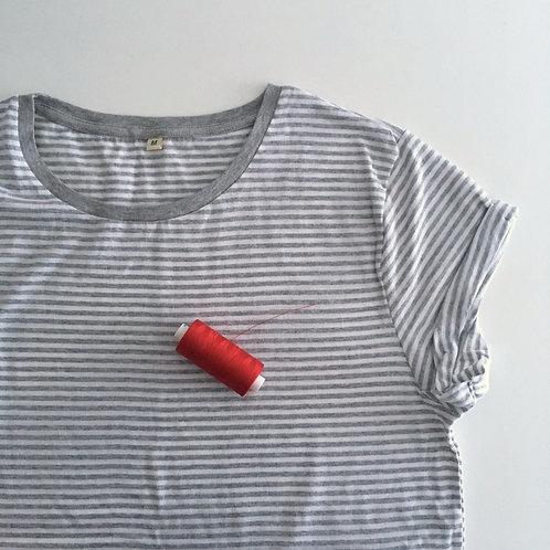 Personalisiertes T-Shirt für Frauen (gestreift) - 100% Bio & Fair