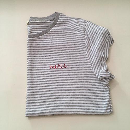 """T-Shirt für Frauen (gestreift) - """"merci"""" - 100% Bio & Fair"""