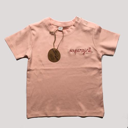 "Statement MiniShirt rosa ""supergirl"" - 100% Baumwolle"