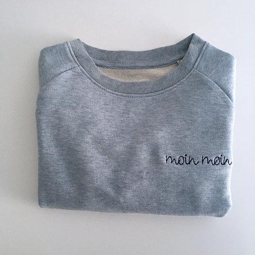 "Kinder Statement Sweatshirt ""moin moin"" - blau / blau - 100% Bio & Fair"