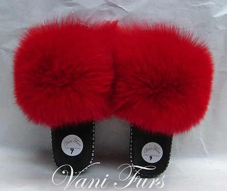 Red Dyed Fox Slippers