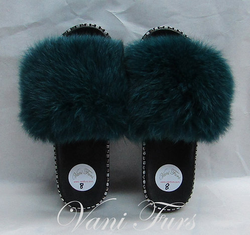 Green dyed fox slippers