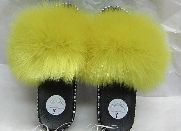 Yellow dyed fox slippers