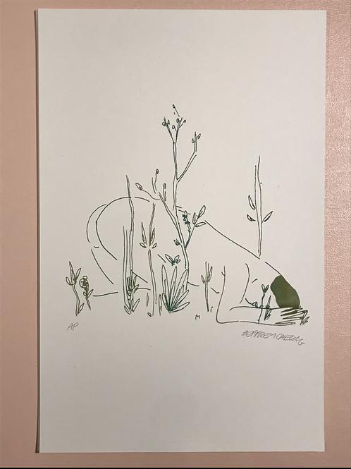 """Grass"" 11x17 Risograph"