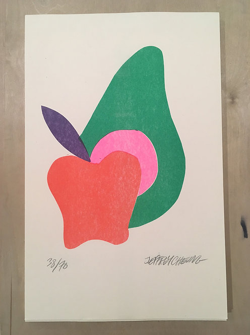 """Apple Avocado"" Risograph"