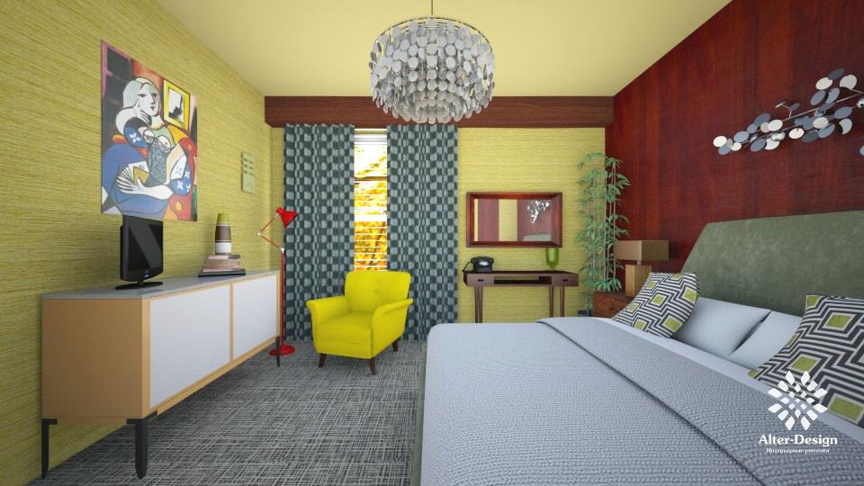 Спальня Midcentury-style