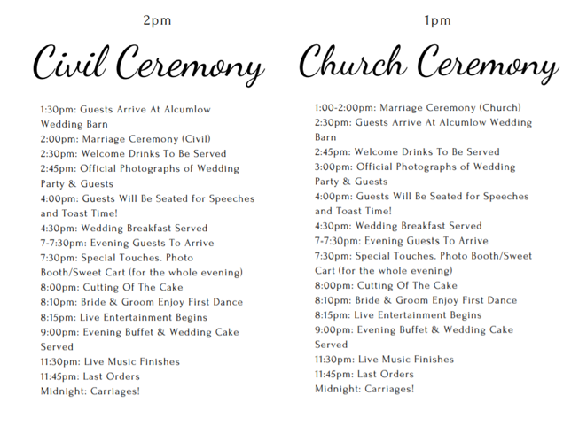 Example template of wedding order of the day