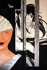 Eventail, Acrylique et collage sur toile, 60x90cm