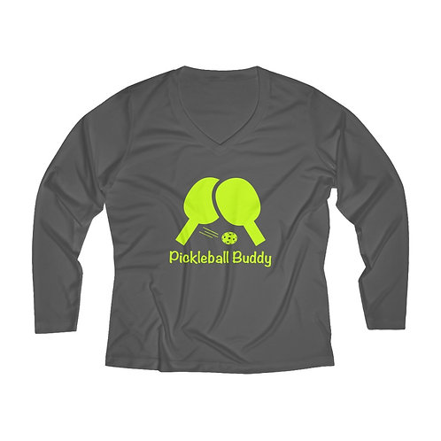 Pickleball Buddy - Women's Long Sleeve Performance V-neck Tee
