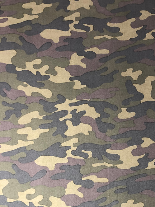 Tobacco Camo - Brushed Poly Spandex