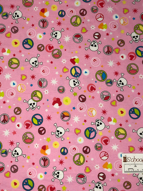 Peace, Love, and Skulls - 100% Cotton Flannel