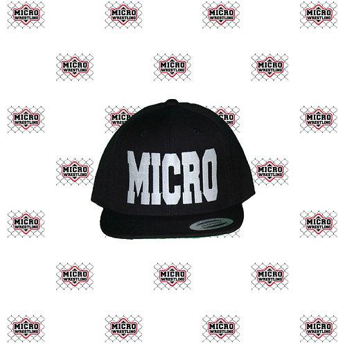 Micro Wrestling Black Flat-bill Snapback Cap