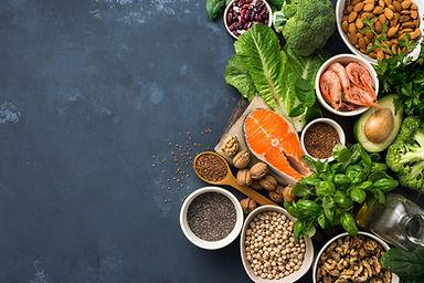 Food sources of omega 3 on dark backgrou