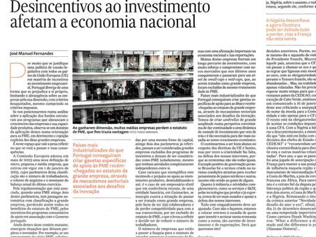 Desincentivos ao investimento afetam a economia nacional