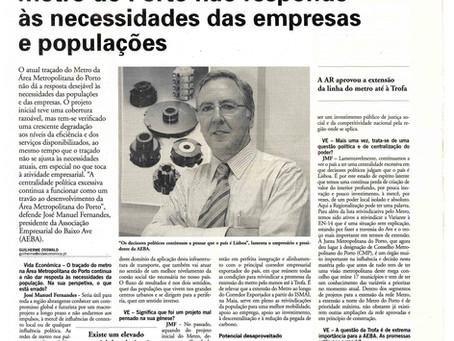 Metro do Porto não responde às necessidade das empresas e populações