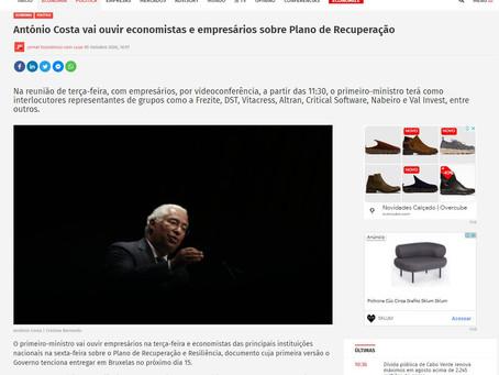 António Costa vai ouvir economistas e empresários sobre Plano de Recuperação