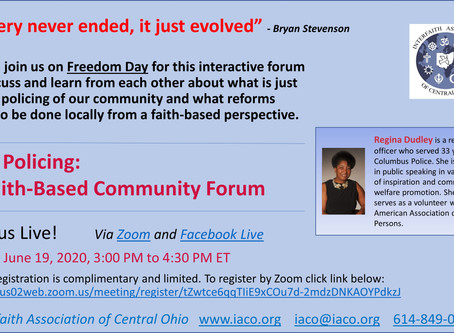 Join Us June 19 - Just Policing: A Faith Based Community Forum