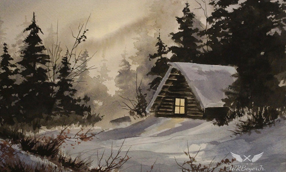 Cabin, Evening Snow