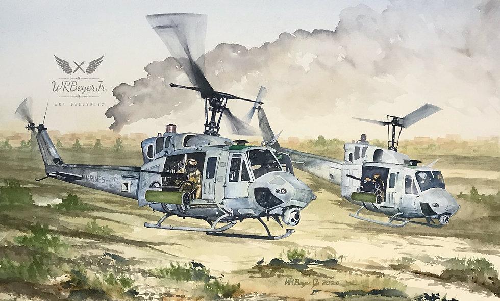 UH-1N Hueys on the prowl
