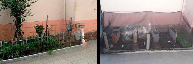 """O antes e o depois do """"jardim"""""""