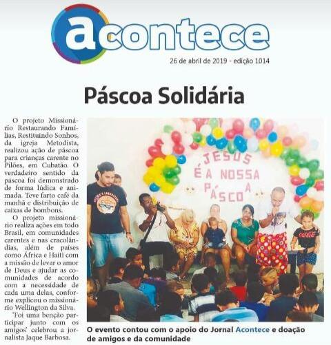 Saiu no Jornal regional, páscoa solidária.