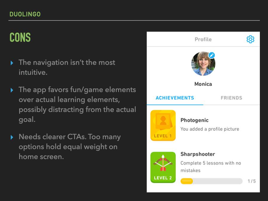 Duolingo: cons