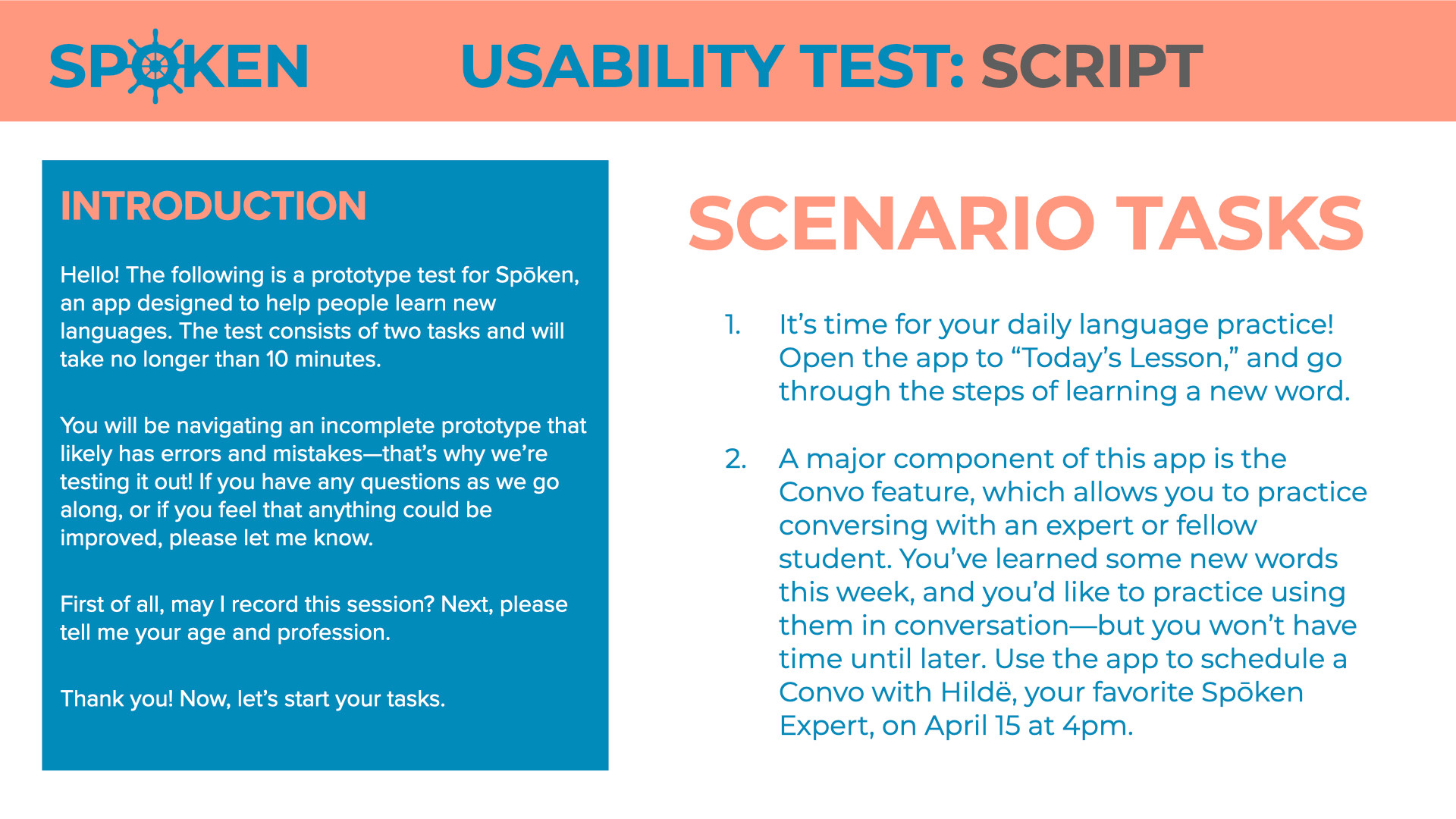 Test Plan: Scenario Tasks