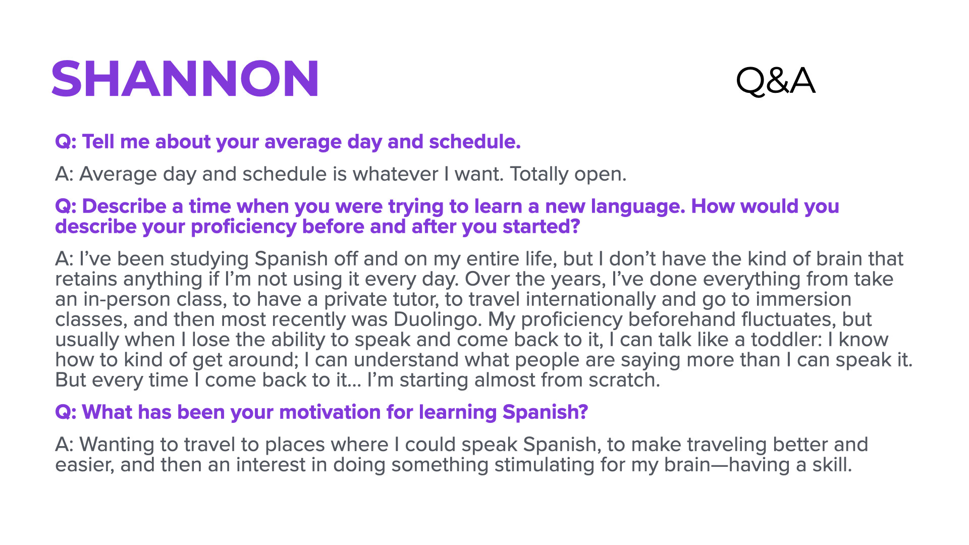 Shannon Q&A