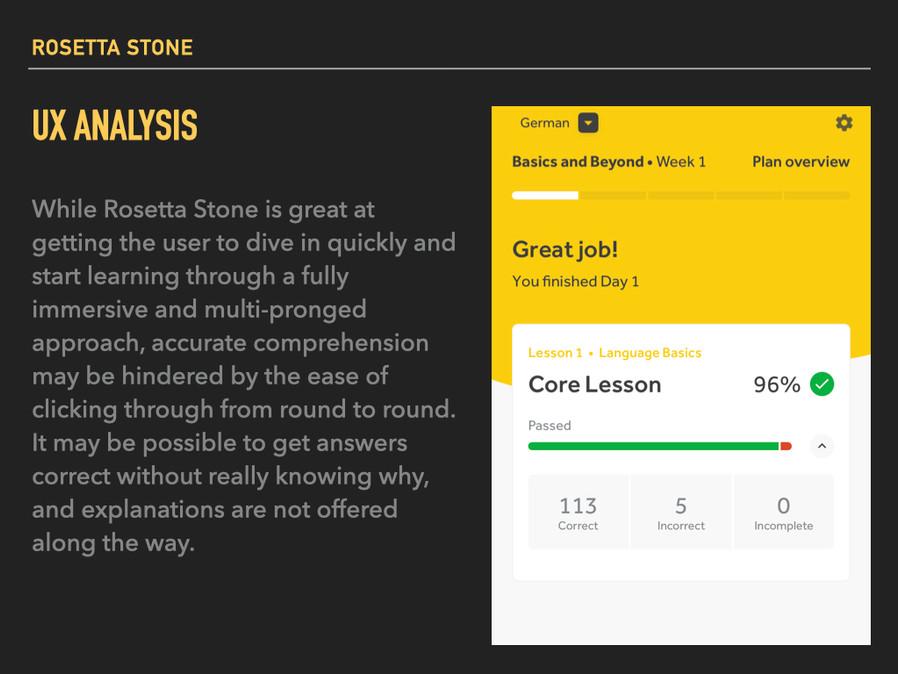 Rosetta Stone: UX analysis