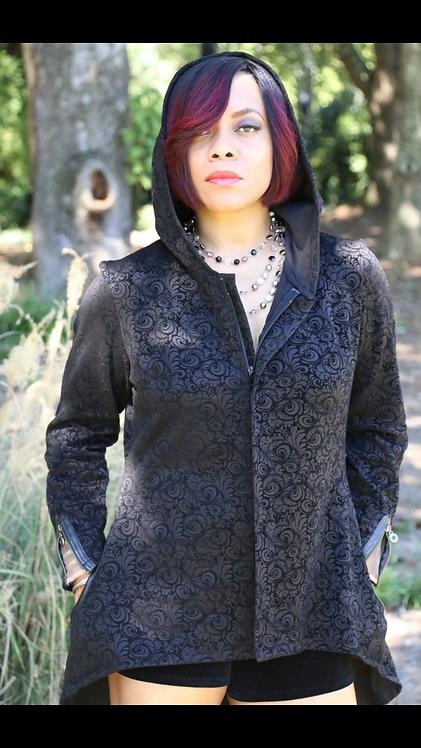 Hooded front zip jacket