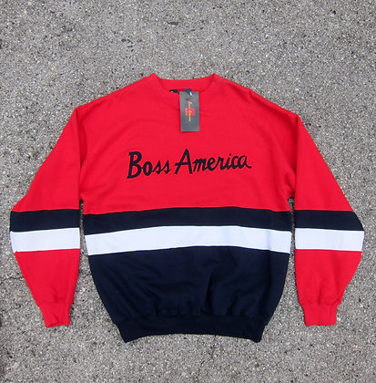 Early 90s Boss America Red Striped Crewneck - L/XL