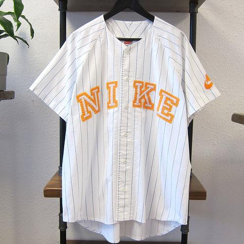 Early 90s Nike White Pin-Striped Jersey - L/XL