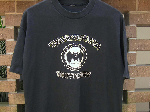 80s Transylvania University We Go For The Throat Tee - L