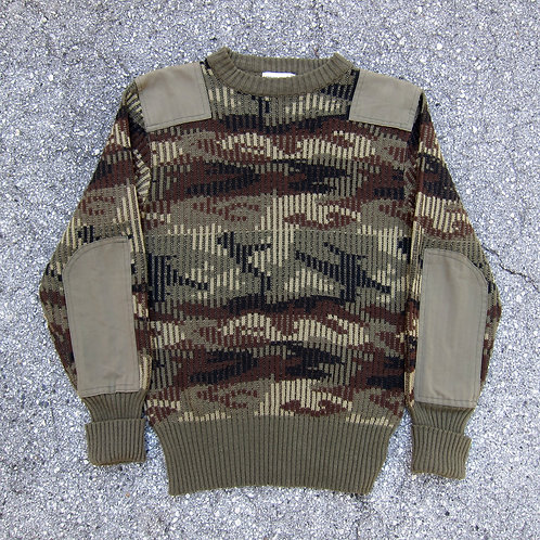 90s Woodland Camo Reinforced Knit Sweater - M/L