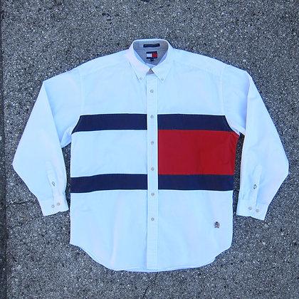 90s Tommy Hilfiger Big Flag Button Down Shirt - L/XL