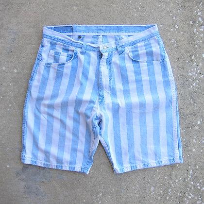 """90s *Worn* Striped Denim Shorts - 34"""""""