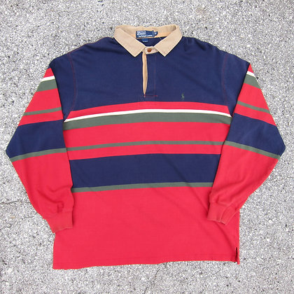 90s Polo RL Multi Stripe Chino Collar Rugby Shirt - XL